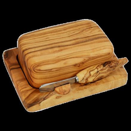 Beurrier en bois d'olivier avec cloche et tartineur.