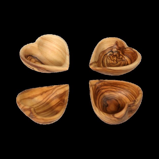 Ensemble coeurs creux décoratifs en bois d'olivier