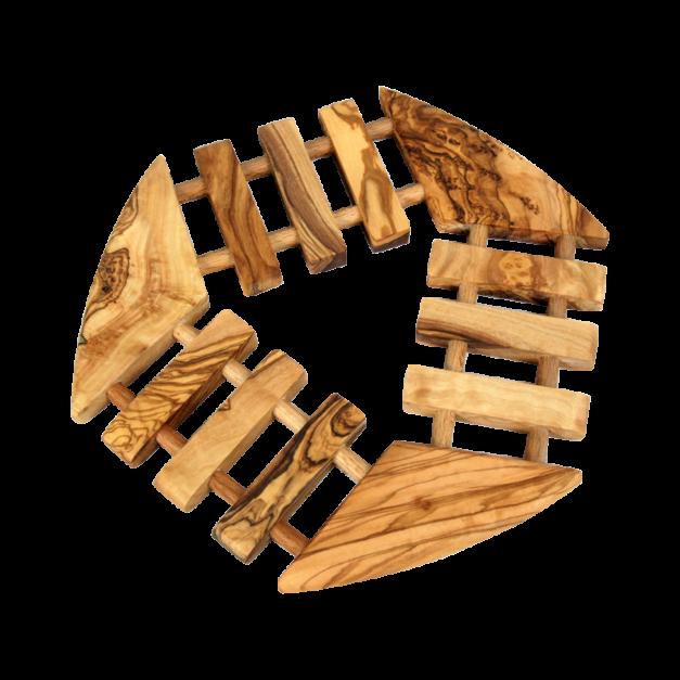 Dessous de Plats géométrique en bois d'olivier.