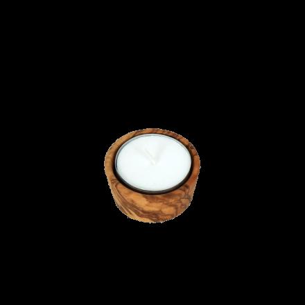Bougeoir en forme de Ramequin en bois d'olivier