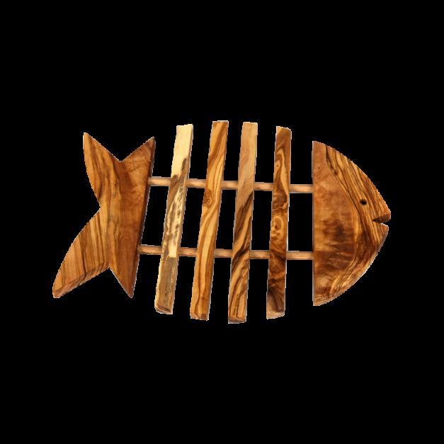 Dessous de plat poisson en bois d'olivier réf 519