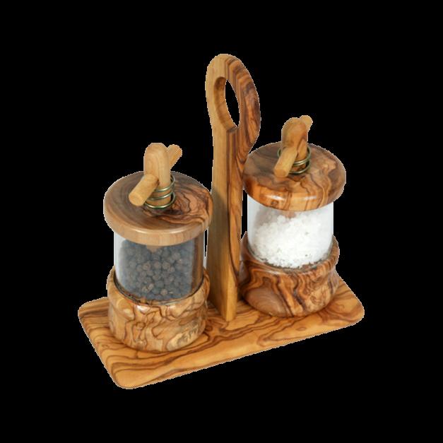 Ménagère moulins sel et poivre en bois d'olivier réf 960