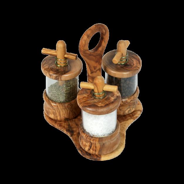 Ménagère moulins sel, herbe et poivre en bois d'olivier réf-961