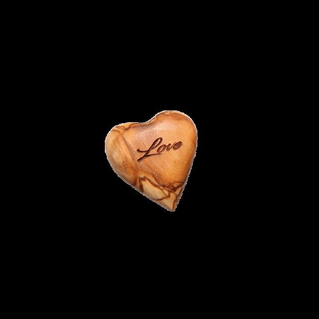 """Cœur plein """"Love"""" en bois d'olivier - 4 cm"""