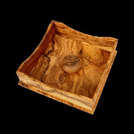 Boite à serviette avec galet en bois d'Olivier