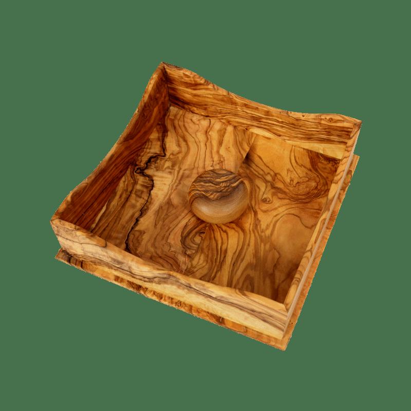boite serviette avec galet en bois d 39 olivier produit artisanal. Black Bedroom Furniture Sets. Home Design Ideas