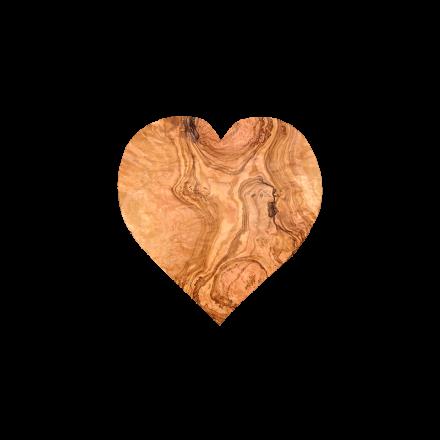 Planche à découper en bois d'olivier en forme de cœur