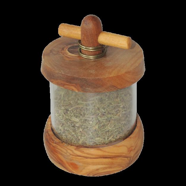 Moulin à herbes en bois d'olivier